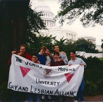 GALA members at the Second National March on Washongton for Lesbian and Gay Rights. Image courtesy The Johns Hopkins Newsletter.